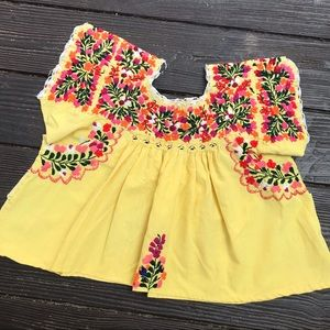 Vintage embroidered Mexican crop top yellow cotton